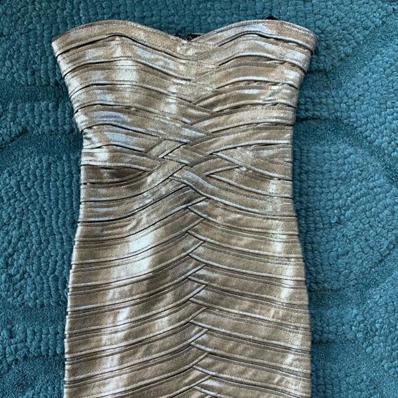 BCBGMaxAzria Dresses & Skirts - Bcbg strapless metallic dress